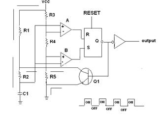 555 Timer IC as a-stable Multivibrator