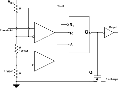 555 Timer Astable Multivibrator Internal Circuit