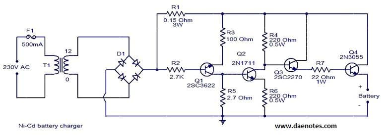ni cd battery charger circuit rh daenotes com 12v ups battery charger circuit diagram Schematic Circuit Diagram