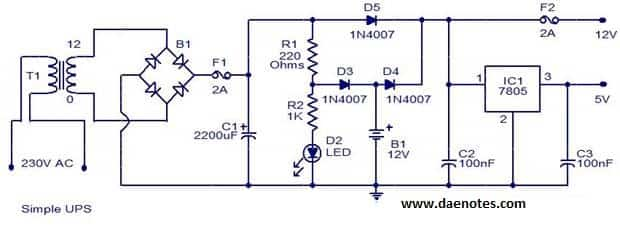 simple ups circuit diagram jpg rh daenotes com Complete Circuit Diagram Complete Circuit Diagram