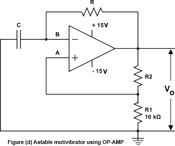 Astable Multivibrator Using OP-Amp