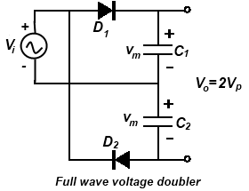 voltage multipliers half wave voltage doubler voltage tripler rh daenotes com voltage doubler circuit diagram using diode voltage doubler schematic diagram